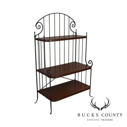 Charleston Forge Iron & Cherry Wood 3 Tier Bakers Rack