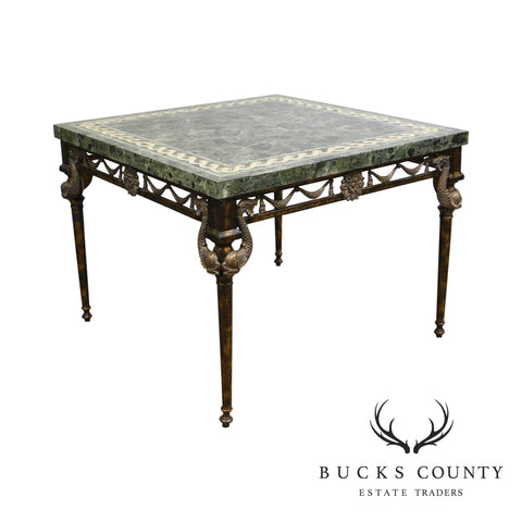 Maitland Smith Neo-Classical Square Marble Top Bronze and Iron Game Table