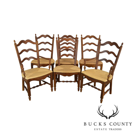 Drexel Heritage French Country Style Set of 6 Rush Seat Ladder Back Dining Chairs