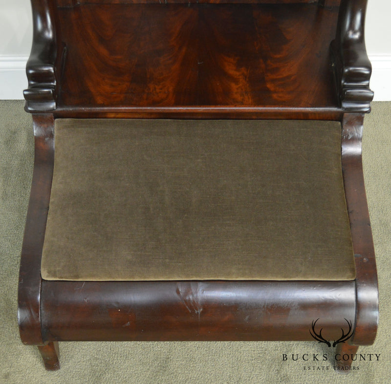 19th Century Antique Mahogany Classical Empire Style Kneeler Prayer Bench
