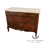 1920's French Louis XV Marquatry Inlaid Marble Top Commode Chest of Drawers
