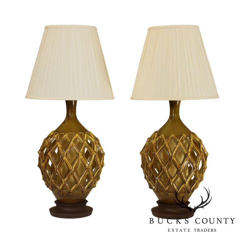 Mid Century Modern Pair Reticulated Cut Out Ceramic Table Lamps