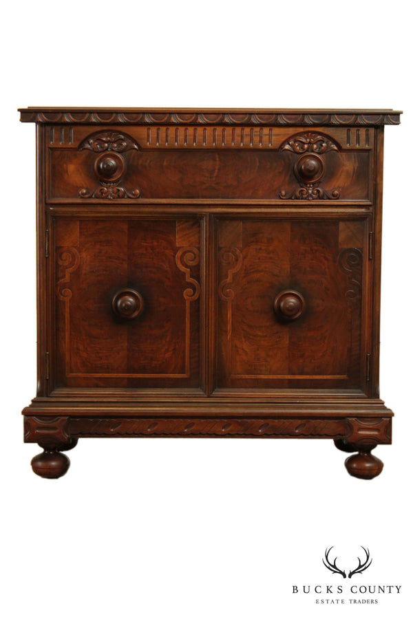 1930's Jacobean Revival Walnut 2 Door Server Cabinet