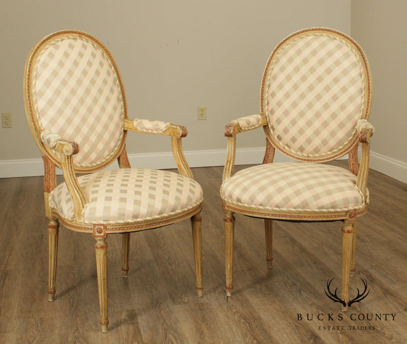 French Louis XVI Style Vintage Pair Paint Frame Armchairs