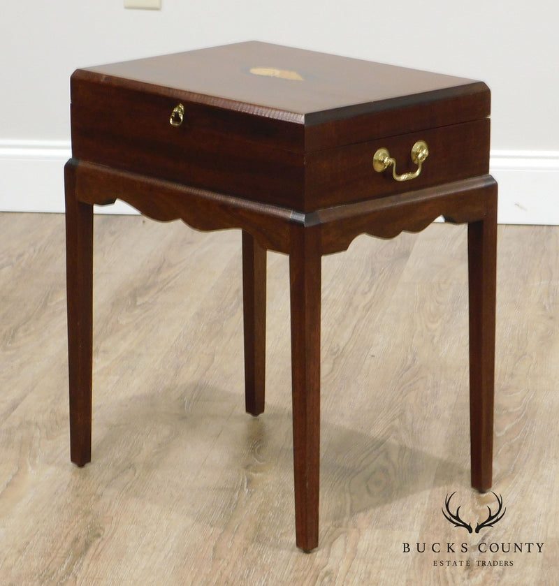 Hepplewhite Style Mahogany Conch Inlaid Box on Stand Side Table