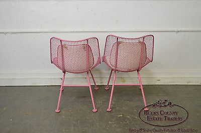 Russell Woodard Sculptura Mid Century Set of 4 Metal Patio Chairs
