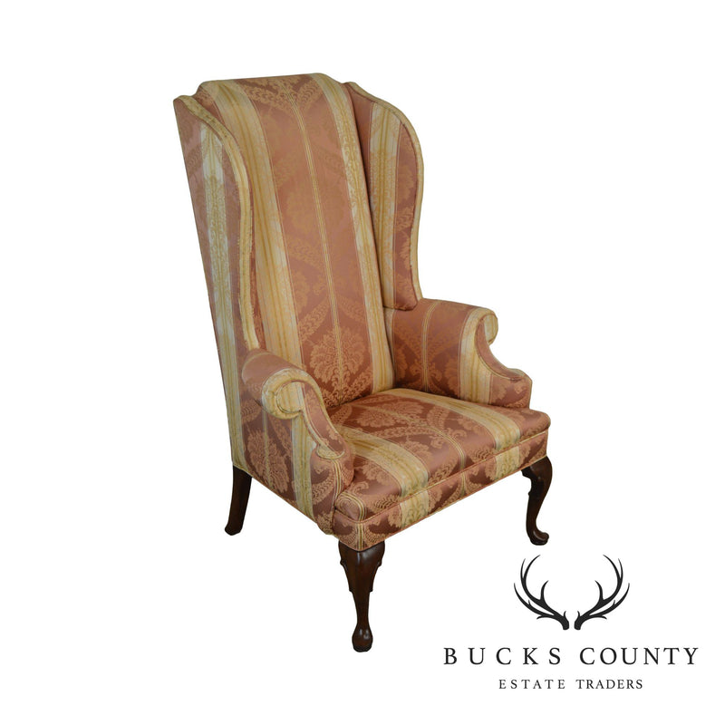 Hickory Chair Mahogany Striped Upholstered Queen Anne Wing Chair