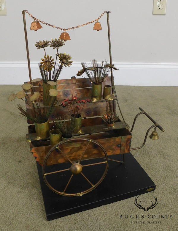 Curtis Jere Mid Century Modern Copper Flower Cart Sculpture (A)