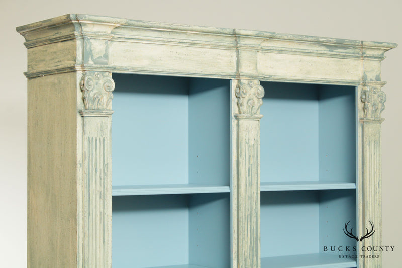 Italian Custom Faux Blue Painted Architectural Bookcase