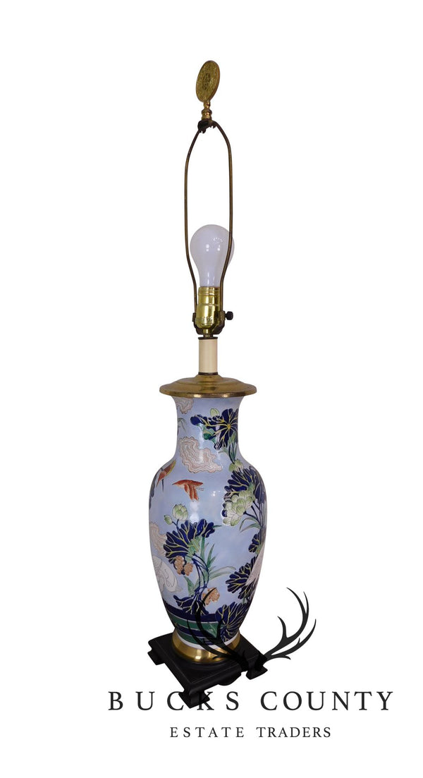 Asian Ceramic Lamp, Willow Form Vase, Enamelled Skyblue Ground with Birds, Clouds, Pond, Plants