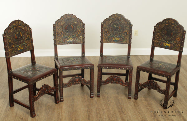 Spanish Renaissance Revival Antique Walnut & Embossed Leather Set 4 Dining Chairs