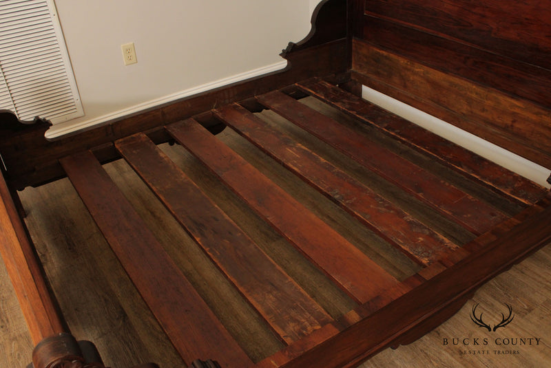 Antique Victorian Rosewood High Back Bed