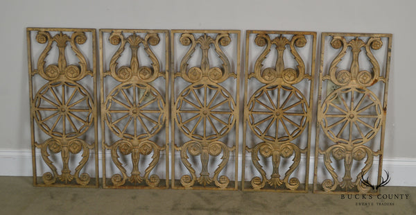 Art Deco Antique Vintage 1940's Set of 9 Cast Iron Railing Panels