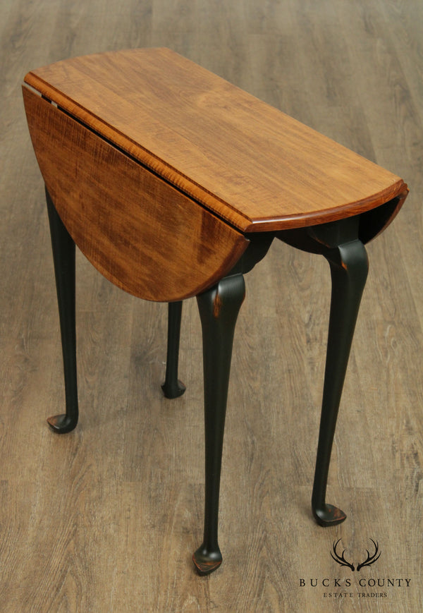 Tiger Maple Queen Anne Style Drop Leaf Side Table