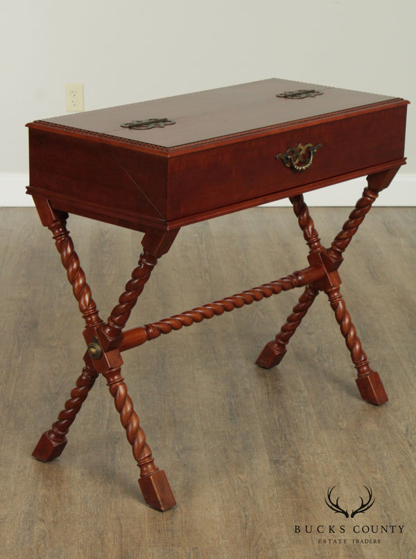 Campaign Style X Base Cherry Secretary Writing Desk