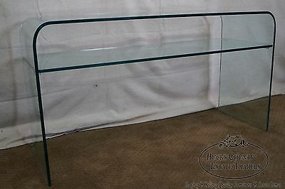 Mid Century Modern Curved Glass Console with Shelf