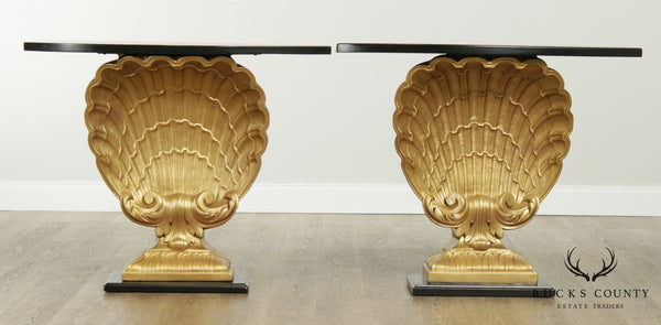 Grosfeld House Hollywood Regency Vintage Pair Black and Gold Shell Consoles