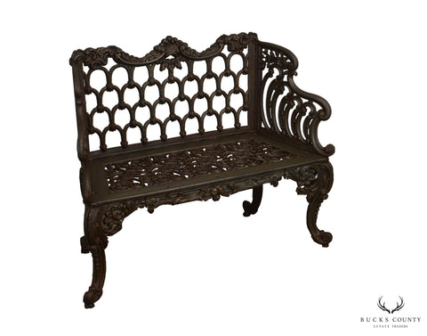 """Gothic Arch and Rose"" Antique American Cast Iron Garden Bench"