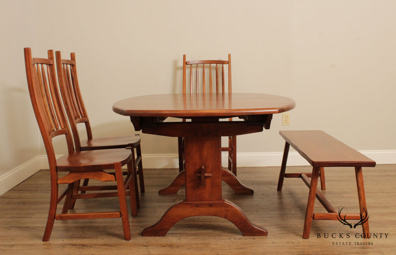 Hunt Country Furniture Solid Cherry 5 Piece Dining Set Table, Windsor Chairs, Bench