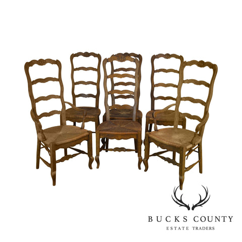 Heritage Vintage French Country Style Set 6 Walnut Rush Seat Ladder Back Dining Chairs