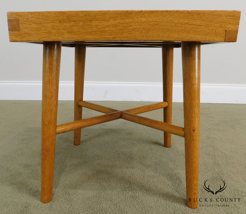 Mid Century Modern Studio Crafted Small Oak Side Table or Stool