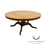"Maitland Smith 64"" - 87.5"" Round Regency Style Tooled Leather Mahogany Dining Table"