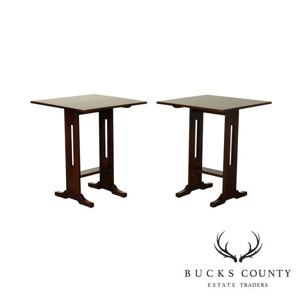 "Stickley Mission Collection Oak Pair 24"" Square Top Side Tables"