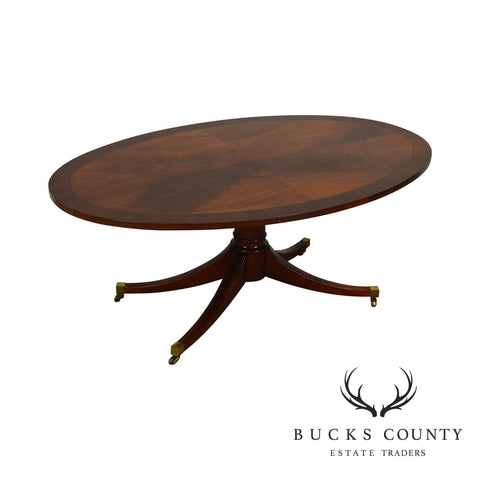 Duncan Phyfe Style Flame Mahogany Oval Elliptical Coffee Table