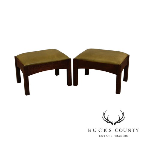 Stickley Mission Collection Oak Pair Footstools