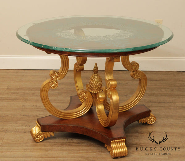 Maitland Smith Empire Style Round Etched Glass, Leather Wrapped Gilt Center Table