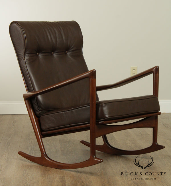 Kofod Larsen For Selig Danish Modern Rocker, Brown Leather