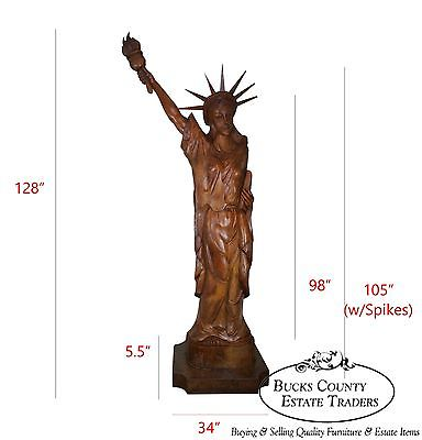 Magnificent Antique Hand Carved Mahogany Monumental 10.5 Foot Statue of Liberty