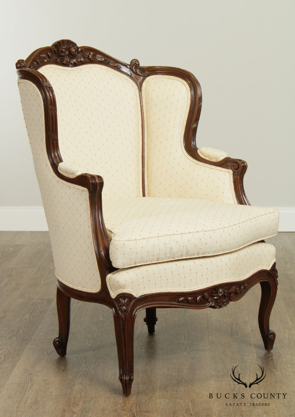 French Louis XV Style Vintage Carved Frame Bergere Chair