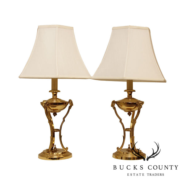 Neo-Classical Style Quality Pair Brass Rams Head Table Lamps