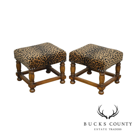 Jacobean Style Quality Pair Small Oak Leopard Print Stools