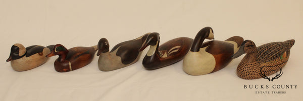 Collection 6 Hand Painted Wood Duck Decoys, John Jeffery Barto, Jane Rinker