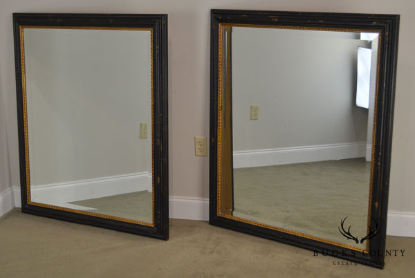 Regency Style Distressed Black & Gold Frame Rectangular Pair Beveled Mirrors