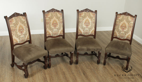 Ital Art Design Custom Upholstered Set 4 French Louis XIII Style Dining Chairs