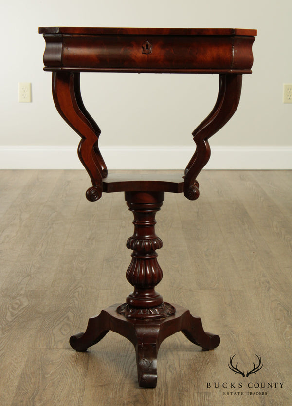 Antique 19th Century Classical Empire Style Mahogany Sewing Stand