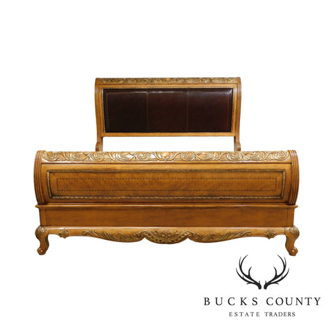 French Louis XV Style Carved Leather Back King Sleigh Bed