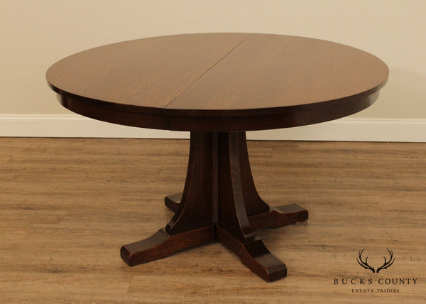 Stickley Mission Collection 52 inch Round Oak Expandable Dining Table