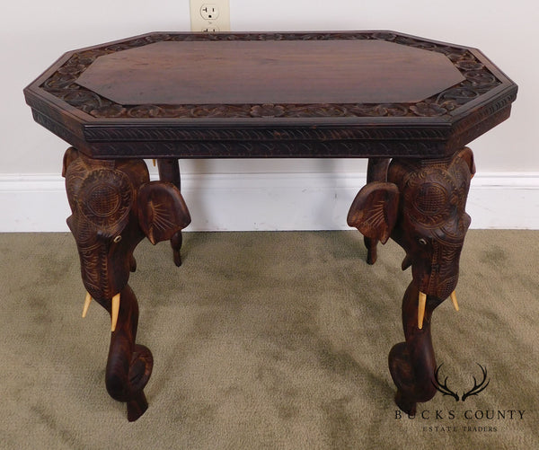 Indian Roosewood Carved Side or Coffee Table with Elephants