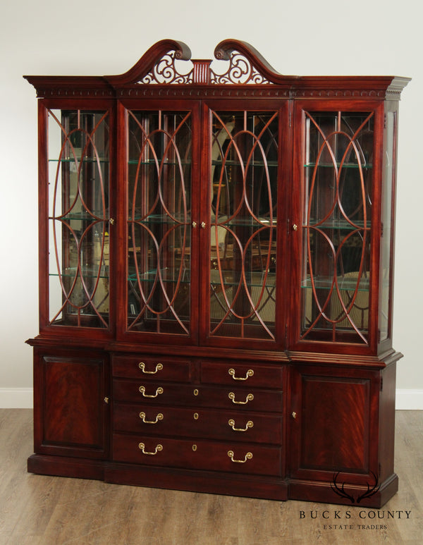 Thomasville Mahogany Collection Large Chippendale Style Breakfront China Cabinet