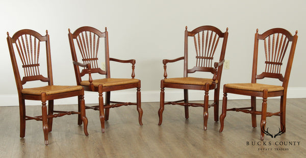 Ethan Allen French Country Style Set 4 Wheat Back Rush Seat Dining Chairs