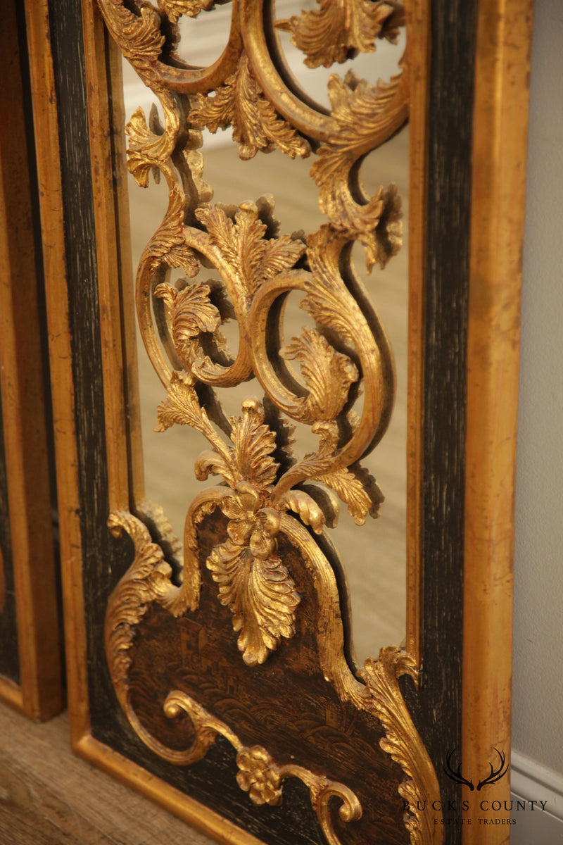 "Castilian 76"" Tall Pair Gilt Carved Rococo Chinoiserie Painted Mirror Wall Panels"