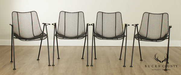 Russell Woodard Mid Century Modern Set of 4 Sculptura Iron Mesh Patio Dining Chairs (A)