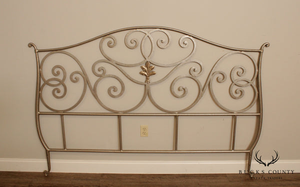 French Regency Style Quality Silver Painter Iron King Headboard