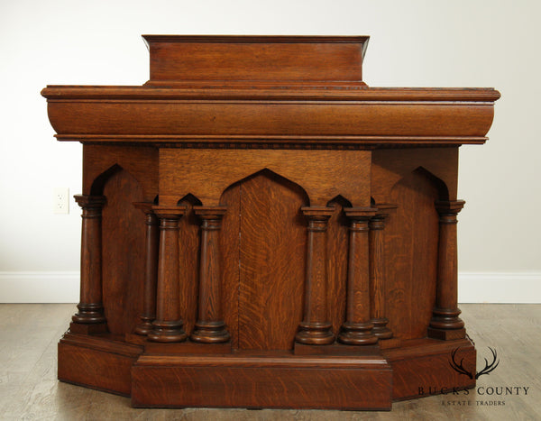 Antique American Gothic Revival Oak Podium with Columns