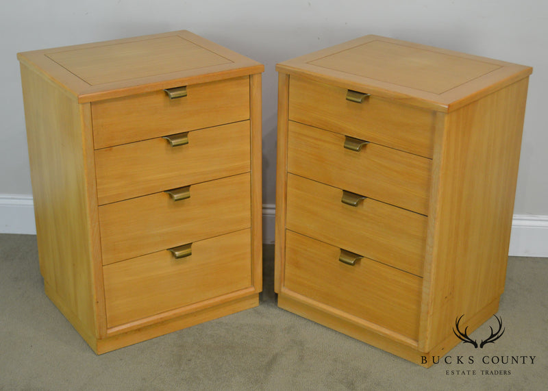 Edward Wormley for Drexel Precedent Pair Blonde Wood Chests Nightstands