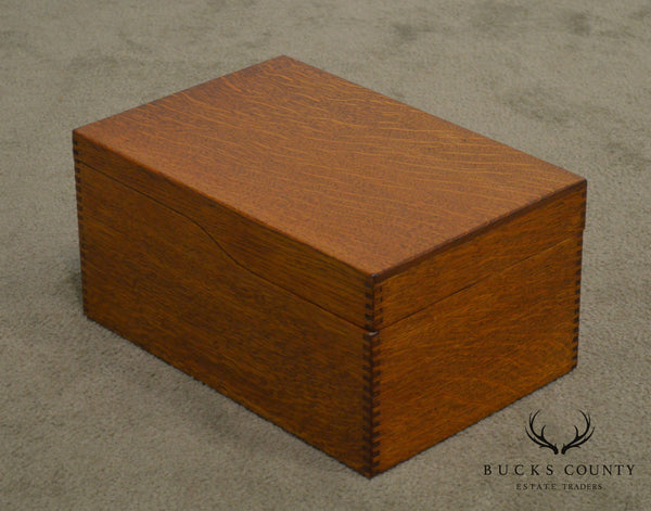 Antique Oak Desktop Library Card File Box